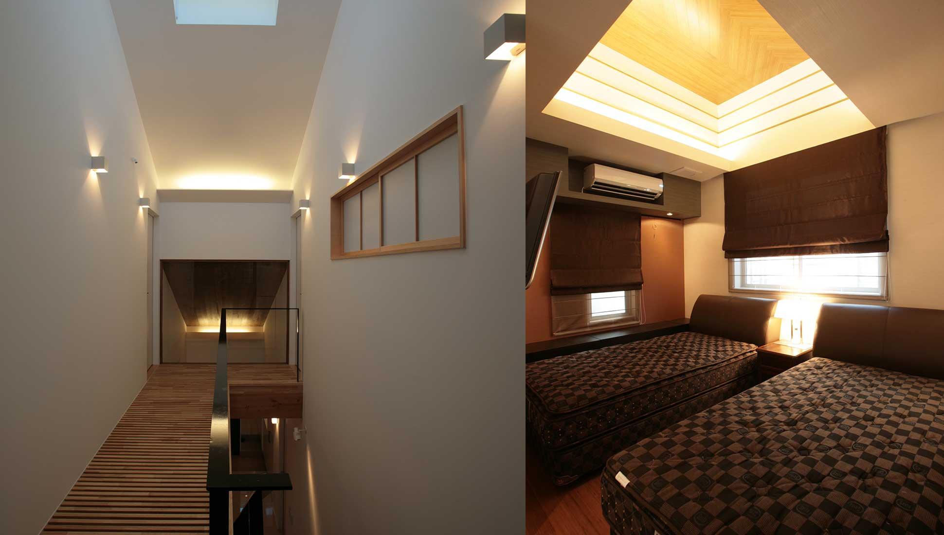 すのこの床の2階ホールと寝室:コの字型中庭のある二世帯住宅 千葉市