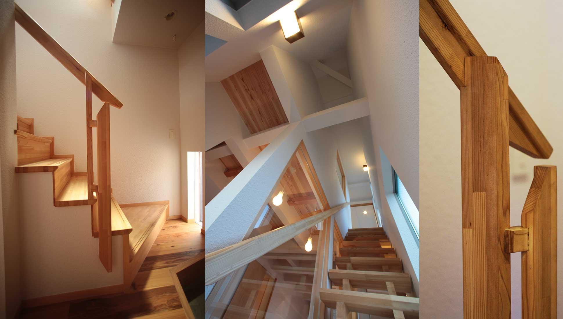 手摺デザイン,天井のデザイン:Jパネルと南側階段のデザイン住宅