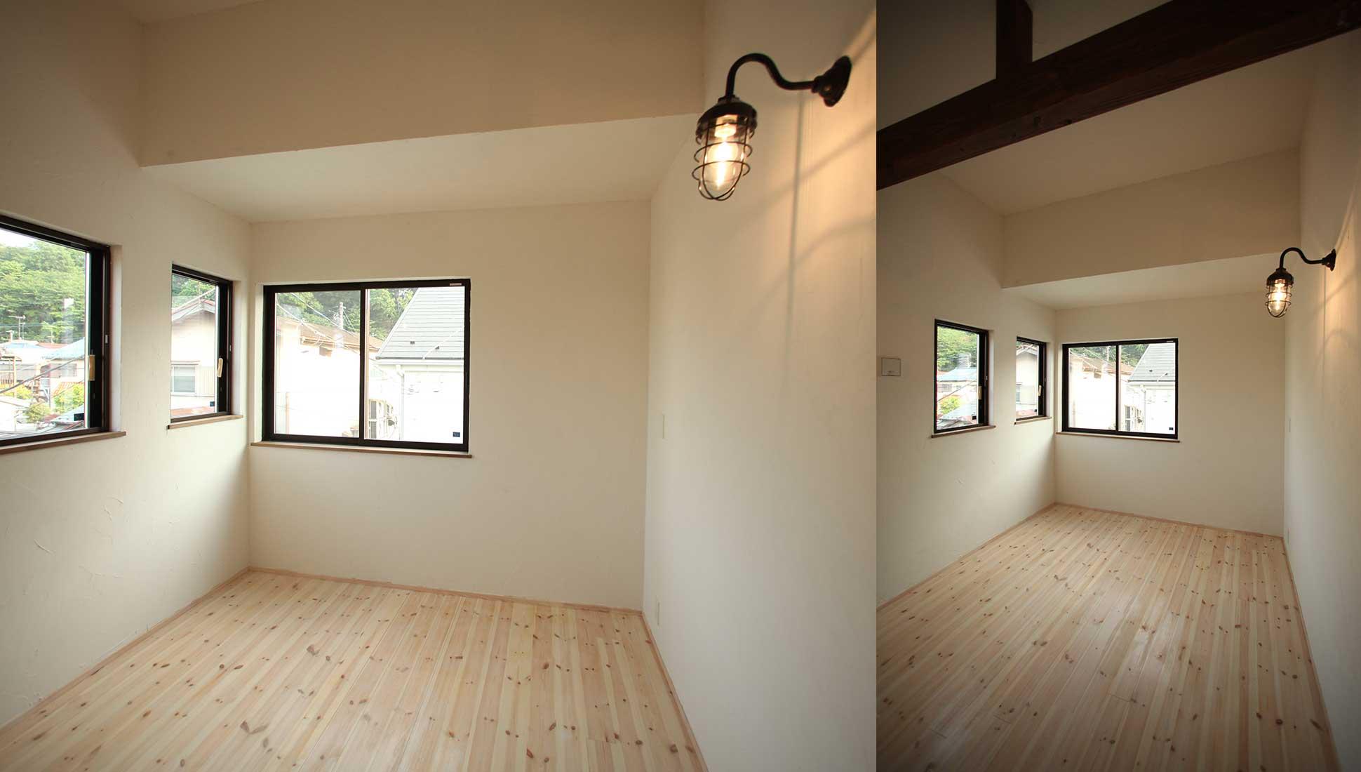 マリンランプと寝室:スキップフロア 間取り 30坪