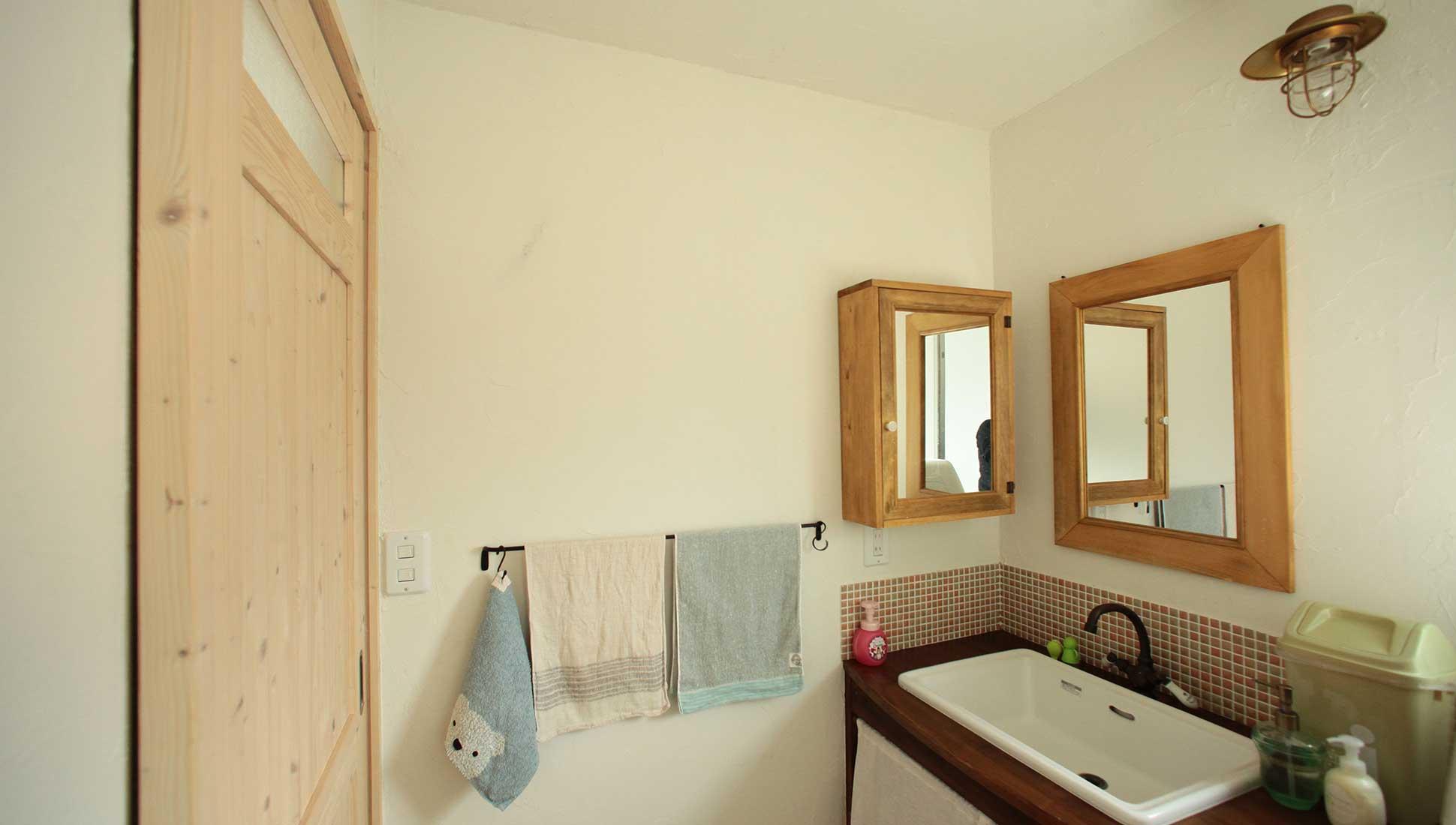 個性的な洗面:スキップフロア 間取り 30坪