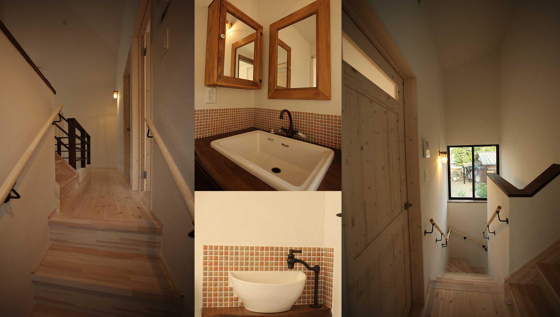 階段、洗面所、トイレ手洗い:スキップフロア 間取り 30坪
