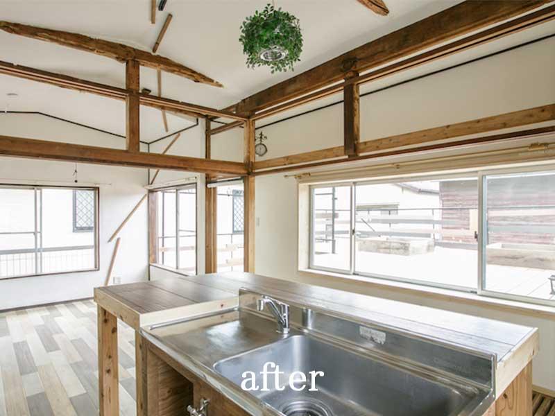 廊下を無くして一室にしたダイニング≪改修後≫:一軒家のリノベーション