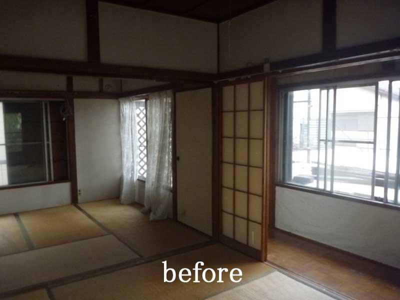 二階の廊下越しの続き間≪改修前≫:一軒家のリノベーション