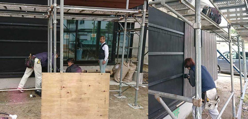 ファサードラタン施工中:君津の戸建て新築