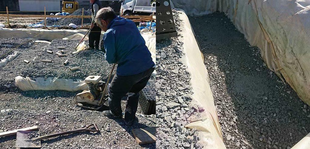 砕石:スーパージオ工法の免震注文住宅。
