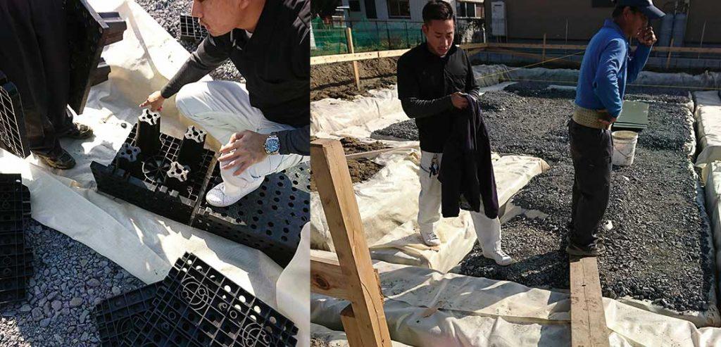 検査砕石:スーパージオ工法の免震注文住宅。