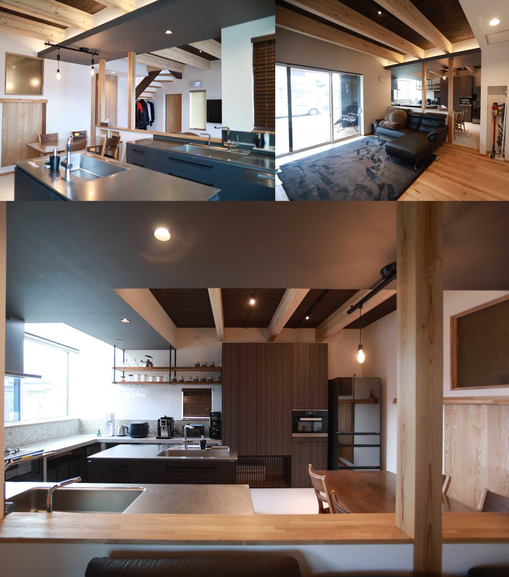 黒と梁と間接照明でデザイン:君津の注文住宅