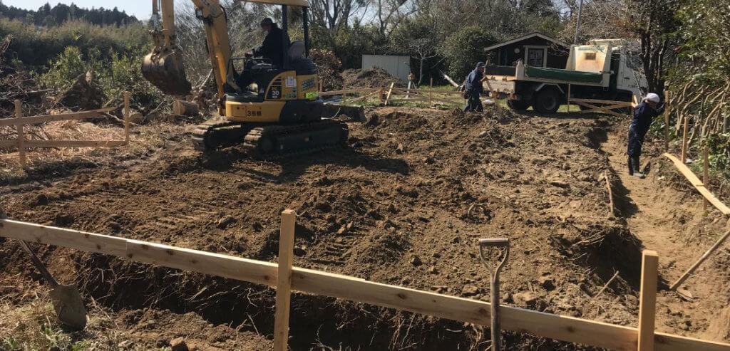 木造住宅の根切り工事
